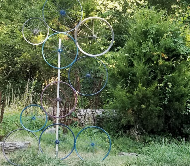 Yard Art: Bicycle Wheel Edition